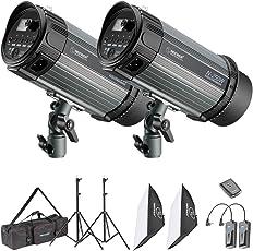 Neewer Kit d'Illuminazione Flash Strobo & Softbox: (2) Monoluce Flash 250W, (2) Cavalletto, (2) Softbox, (1) RT-16 Wireless Trigger, (1) Borsa di Trasporto, per Registrazioni Video Fotografia in Esterni & Ritratti