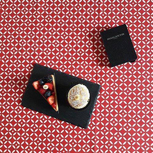 Fleur de Soleil - Nappe enduite Mosaïque rouge Dimension - Carrée 160x160cm, Finition - Non ourlée (coupe franche), Matière - Coton enduit