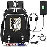 YOYOSHome Luminous Japanese Anime Cosplay Daypack Bookbag Laptop Bag Backpack School Bag with USB Charging Port