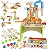 Nuheby Cassetta Attrezzi Giochi in Legno Kit Attrezzi per Bambini 3 4 5 6 Anni,Martello Cacciavite Gioco di Ruolo Giocattoli