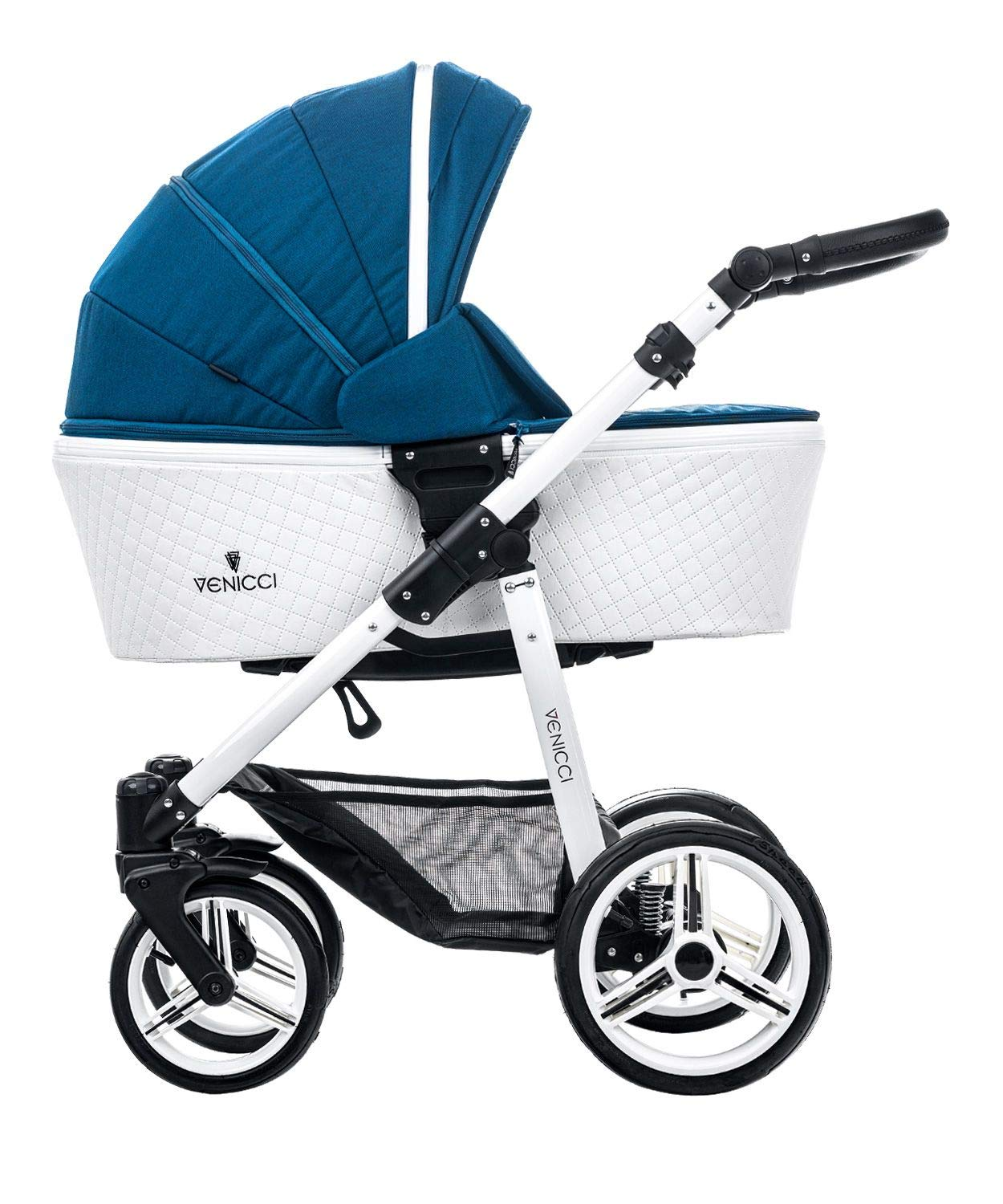 Venicci Pure 2-in-1 Travel System - Ocean Blue - with Carrycot + Changing Bag + Apron + Raincover + Mosquito Net + 5-Point Harness and UV 50+ Fabric + Cup Holder Venicci 2-in-1 Pram and Pushchair with custom travel options Suitable for your baby from birth until approximately 36 months 5-point harness to enhance the safety of your child 2