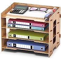 Trieur de Documents A4 Organiseur de Bureau Organiseur de Rangement en Bois Classeur Pour le Bureau(33*24*27cm)