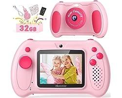 Hommie Fotocamera Bambini, Fotocamera Digitale per Bambini, 1080P HD,Doppio Obiettivo,Videocamera per Foto Antiurto,Scheda 32