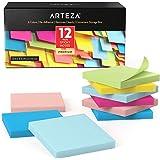 Arteza Boîte repositionable notes 76x76 mm | 12 x carnet de notes autocollantes | 100 notes par bloc papier | Memo papier cou