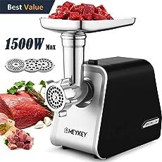 MeyKey Elektrischer Fleischwolf, Fleischwolf mit 3 Mahlplatten und Wurstfüllrohren für den Hausgebrauch, Edelstahl