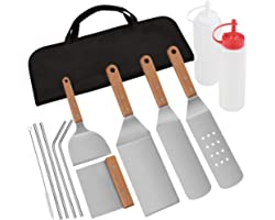 POLIGO 13pcs Restaurant Grade Stainless Steel Griddle Accessories and Metal Straws Kit in Carrying Bag - Griddle Spatula Set