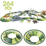 Nuheby Autorennbahn Rennbahn Dinosaurier für Kinder Junge Mädchen 3 4 5 6 Jahren, 264 Stück die Autorennbahn Jurassic Dino Welt Flexible Track Dinosaurier Pädagogisches Spielzeug für Kinder