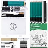Lapices De Dibujo Artístico Set de Lápices Profesional del Artista Set Incluye Grafito,Carboncillos,Bloc,Caja Portátil para A