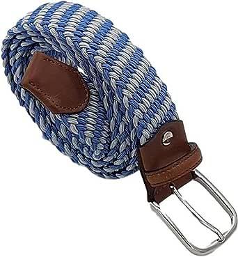 ESPERANTO Cintura 3,5 elasticizzata trama obliqua-finiture in cuoio e fibbia nichel free anallergica(TAGLIE FORTI : DA 135 A 170 CM) - 9 VARIANTI