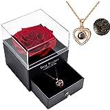 Rosa reale conservata Eterna fatta a mano Rosa preservata fatta a mano con amore collana Set regalo, rosa reale incantato per