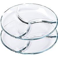 ChasBete Service Assiette Compartiment Adulte en Verre, Plateau Aperitif Design, Lot Assiette de Table - D 25 cm 2…
