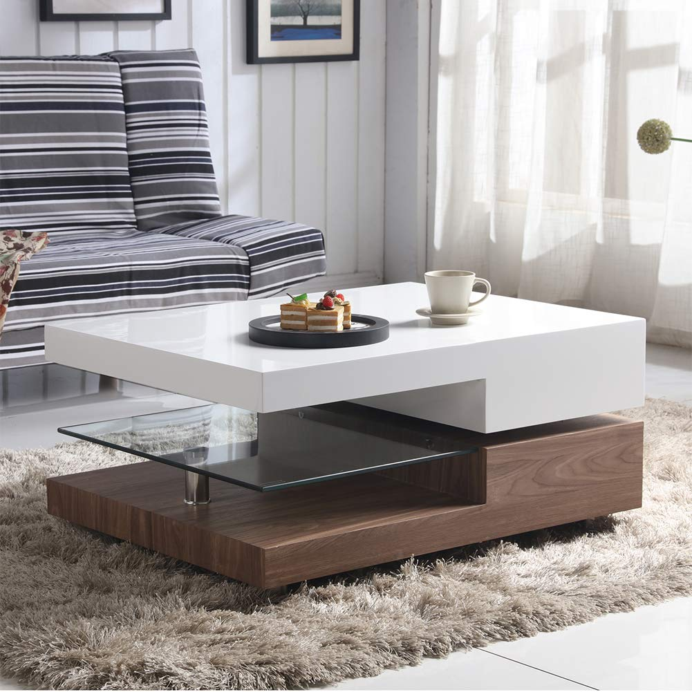 GOLDFAN High Gloss Rectangular Glass Swivel Coffee Table