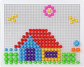 ivee international Boy's and Girl's Plastic Creative Mushroom Nails Pegboard Educational Bricks Toys Puzzle Block- Pack of 2