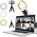 Ringlicht Laptop,Videokonferenz Licht mit Handy Stativ und Clip,FGen Streaming Licht mit 3 Farbe Modi 10 Helligkeitsstufen We