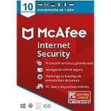 McAfee Internet Security 2021, 10 Dispositivos, 1 Año, Software Antivirus, Manager de Contraseñas, Seguridad Móvil, PC/Mac/An