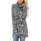 Zanzea Donne Casual Girocollo Manica Lunga Camicetta Inverno Sciolto Leopardo Felpa Top Sexy Pullover Maglione Camicia
