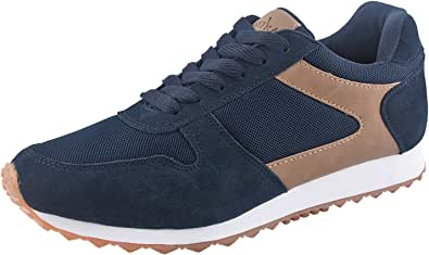 TIESTRA Mens Cross Trainers, Suede Retro Classic Trainers, Laces Up Casual Sport Shoes Comfort Mesh Low Top Sneakers