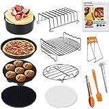Genround airfryeraccessoires, 12 stuks accessoires voor een airfryer met 20 cm taartvorm, pizzabakplaat, toastrek, voor bakke