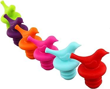 LouisChoice Tappo per Bottiglia di Vino, Tappo per Bottiglia di Vino in Silicone, Carino Uccellino Decorativo, Colori Assortiti, Set di 6