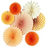 7er Set Orange Dekoration Papier Rosetten Deko Fächer Peach Deko-Serie von SUNBEAUTY