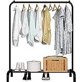 UDEAR Porte-vêtement Autoportant Cintre Multifonctionnel Unipolaire Chambre Vêtements Rack Chambre, Noir