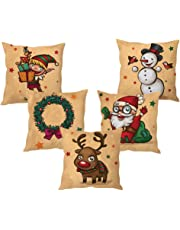the purple tree Polyester Christmas Cushion Cover (Multicolour, 16x16-inch) - Set of 5 Pieces
