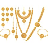 Sukkhi Traditional Gold Plated South Indian Temple Dulhan Necklace Set For Women (DS72344GLDPV092017), free size