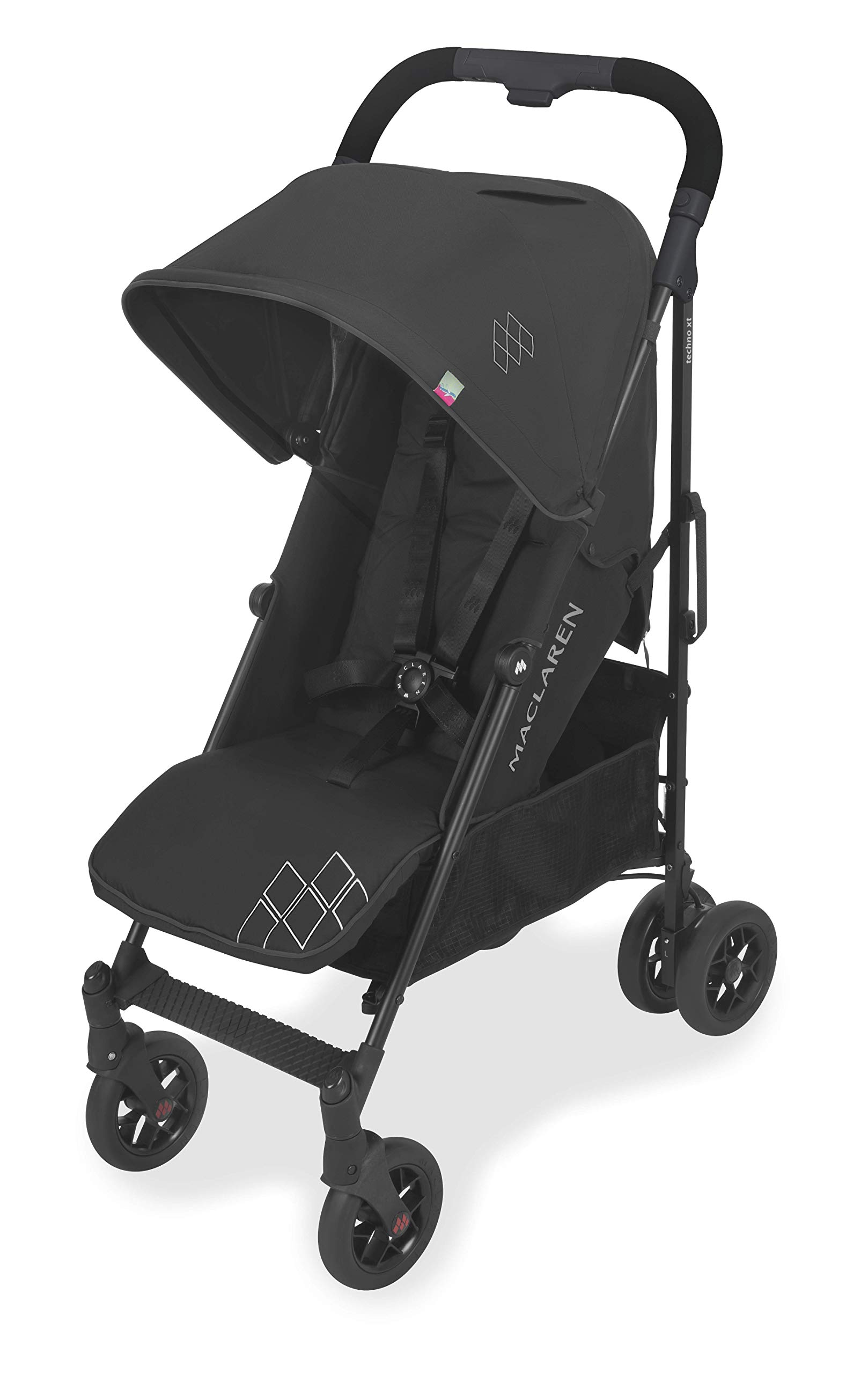 Maclaren Techno arc Stroller - lightweight, compact,Black/Black Maclaren The techno arc's basic weight is 7.1kg; ideal for newborns and children up to 25kg. The folded dimensions are 113cm L x 35cm w x 35cm H. The stroller is assembled The techno arc's padded seat reclines into 4 positions and converts into a new-born safety system. Coupled with ultra light flat-free eva tires and all wheel suspension The techno arc includes a wind-resistant rain cover and headhugger & shoulder pads. Waterproof/ upf 50+ hood to protect from the elements and machine washable seats to keep tidy 1
