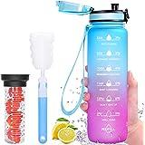 Favofit Borraccia con Contenitore per Frutta, 1L Bottiglia d'Acqua motivante con timestamp, a Prova di perdite, Senza BPA, co