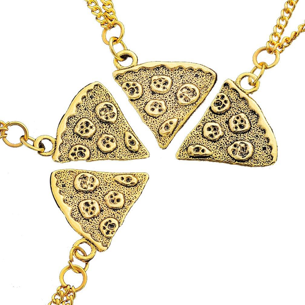MJARTORIA Antik Gold Farbe Pizza Slice Halskette freundschaftsketten Stück 4