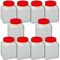 Lot de 10 Flacons vide 500 ml (col large Din60) avec bouchon anti-fuite, HDPE qualité alimentaire (10x22030)