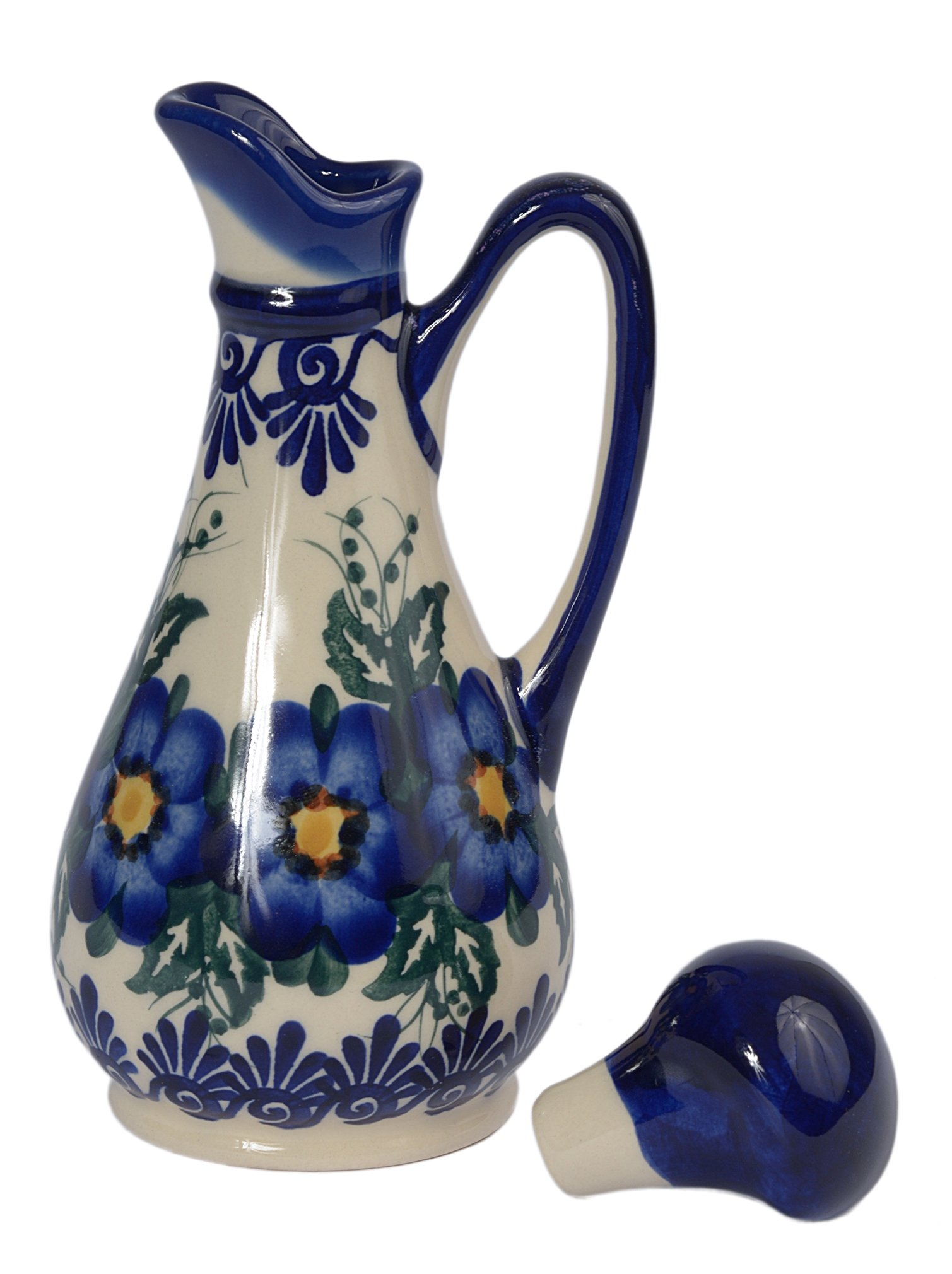 Traditional Polish Pottery, Handcrafted Ceramic Olive Oil or Vinegar Bottle 160ml, Boleslawiec Style Pattern, V.401.Pansy
