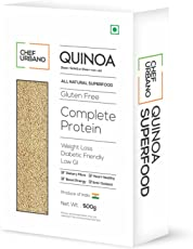 Chef Urbano Quinoa 500g | Higher mineral content than Rice | Rich in Protien & Fiber | Diabetic Friendly | Aids Weight Loss | Gluten Free | Vegetarian | Non GMO