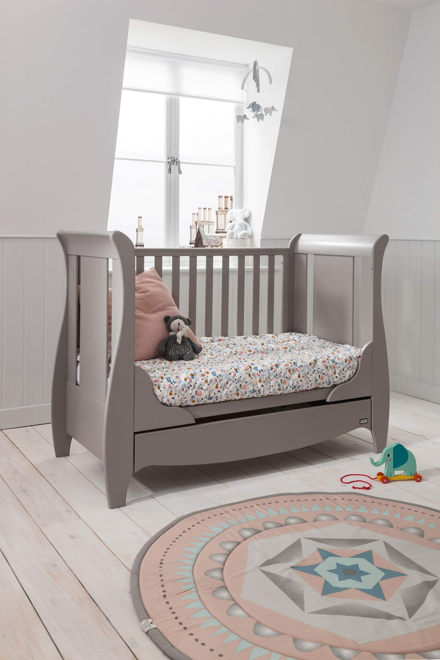 Tutti Bambini Roma Wooden Sleigh Cot Bed with Space Saver Under Bed Drawer - 120 x 60cm 3 Adjustable Positions (Truffle Grey) Tutti Bambini BIRTH TO 4 YEARS - Can be used as a Cot Bed from birth and then converted into a sofa or junior bed suitable up to 4 years ADJUSTABLE BASE - Three position adjustable mattress base, allowing easy access to little ones UNDER BED DRAWER - Classic sleigh design with under-bed drawer for extra storage, available in White or Espresso finish 5