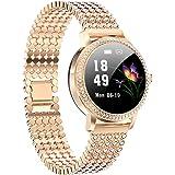 Aliwisdom Smartwatch voor dames, 1,08 inch, rond, modieus, smartwatch, fitnesshorloge, waterdicht, sporthorloge, fitnesstrack