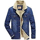 KUDICO Mens Denim Jacket Autumn Winter Warm Fur Collar Cotton Coat Pocket Button Long Sleeve Outwear Tops