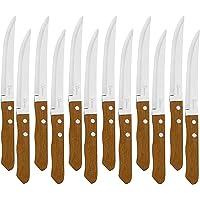 Lot de 12 couteaux de table avec manche en bois naturel, couteau à viande en acier inoxydable, lame lisse
