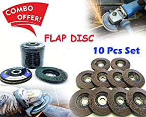 Fervent Cutting Tools - Combo of 10 - 4 Inch or 110 mm Abrasive Flap Disc Sanding Grinding Wheel, Polishing Wheel Grinding Disc (Set of 10) | Wheel Grinding Disc | Saw Blade | bench grinding wheel | grinding tools |