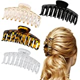 4Pcs Hair Claw Clips for Thick Hair - 4.3'' Plastic Nonslip Jumbo Hair Clips Strong Hold Hair Jaw Clips Big Hair Clips, Hair