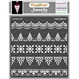 thecraftshop CrafTreat Reusable DIY Ornate Art and Craft Background Painting Border Stencil for Fabric (12X12 Inch)