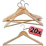 STAR - LINE Lot de 20 cintres en bois naturel avec barre   Crochet rotatif à 360° avec barre pour pantalon   Cintres porte-ma