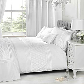 1aa845360156 White Super King Size Duvet Cover & P/cases Bedding Bed Set Floral  Emdroidered