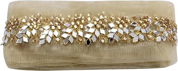 Sofias Fashion DIY Women's DIY Gold Mirror and Stonework Lace 2.5m (Gold, L- 95)