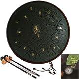 AiLa Tambour de Langue en Acier Handpan-Clé D 15 Tons 14 Pouces Tambour à Main-Instrument à Percussion avec Maillets/Sac de T
