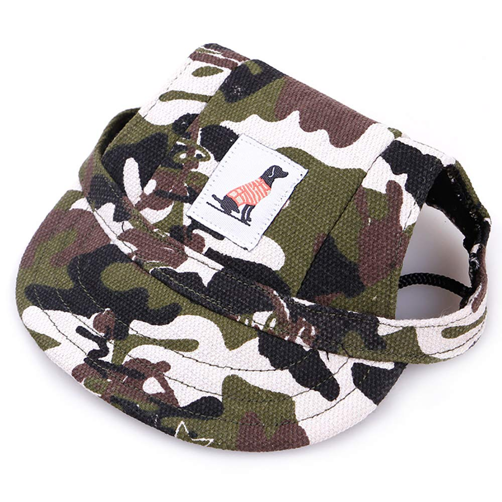 KDSANSO Pet Dog Hats, Puppy Cap for Small Size Dogs Visor Design Fashion Dogs Baseball Sun Hats Sport Cap with Ear Holes and Chin Strap for Puppy Chihuahua Teddy Pug Dress up(Camouflage S)