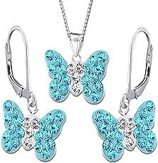 3tlg. Schmuckset Brisur Ohrhänger Creolen Halskette Kette Anhänger Schmetterling 925 Echt Silber