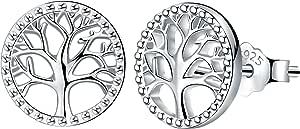 Lydreewam Albero Della Vita Orecchini Donna Argento Sterling 925 con Scatola Regalo, Diametro 10mm