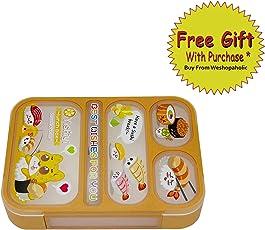 Shopaholic BPA Free Five Grid Lunch Box with Spoon and Chopstick -1000 ML Orange 590
