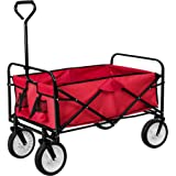 TecTake Chariot de transport à main Remorque de jardin pliable   95 x 53,5 x 117 (LxBxH)   -diverses couleurs au choix- (Roug