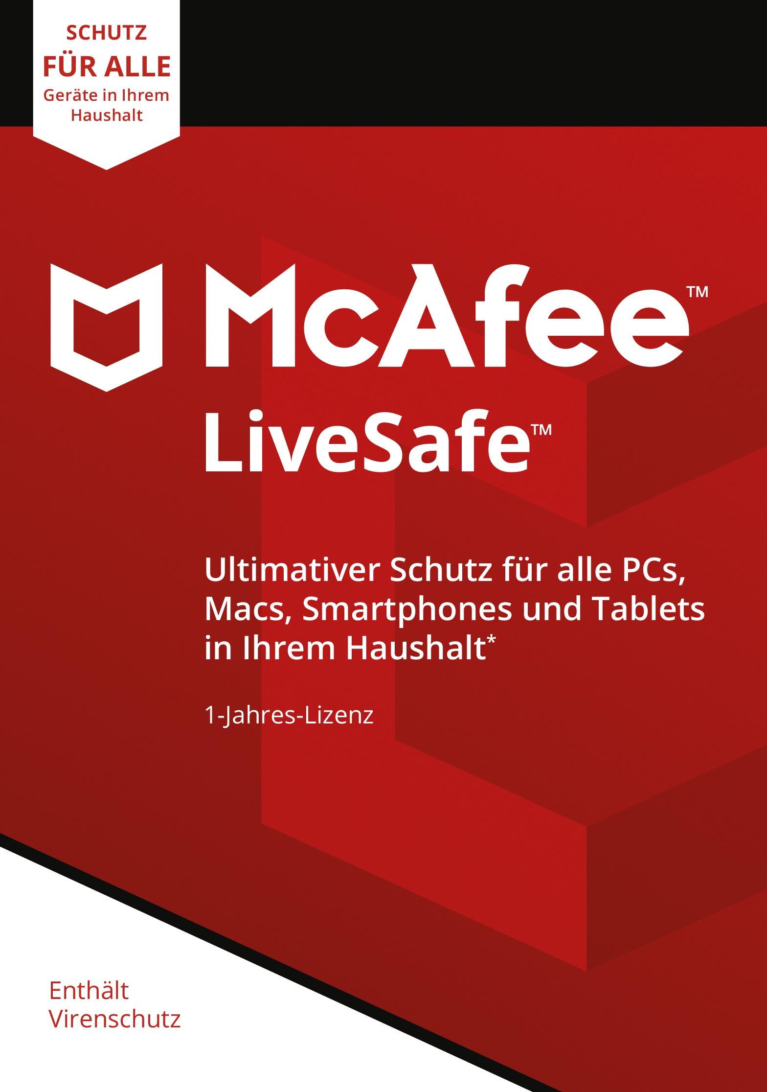 McAfee Live Safe 2018 für eine unbegrenzte Anzahl an Geräten | 1 Jahr | PC/Mac/Smartphone/Tablet [Online Code] [Online Code]